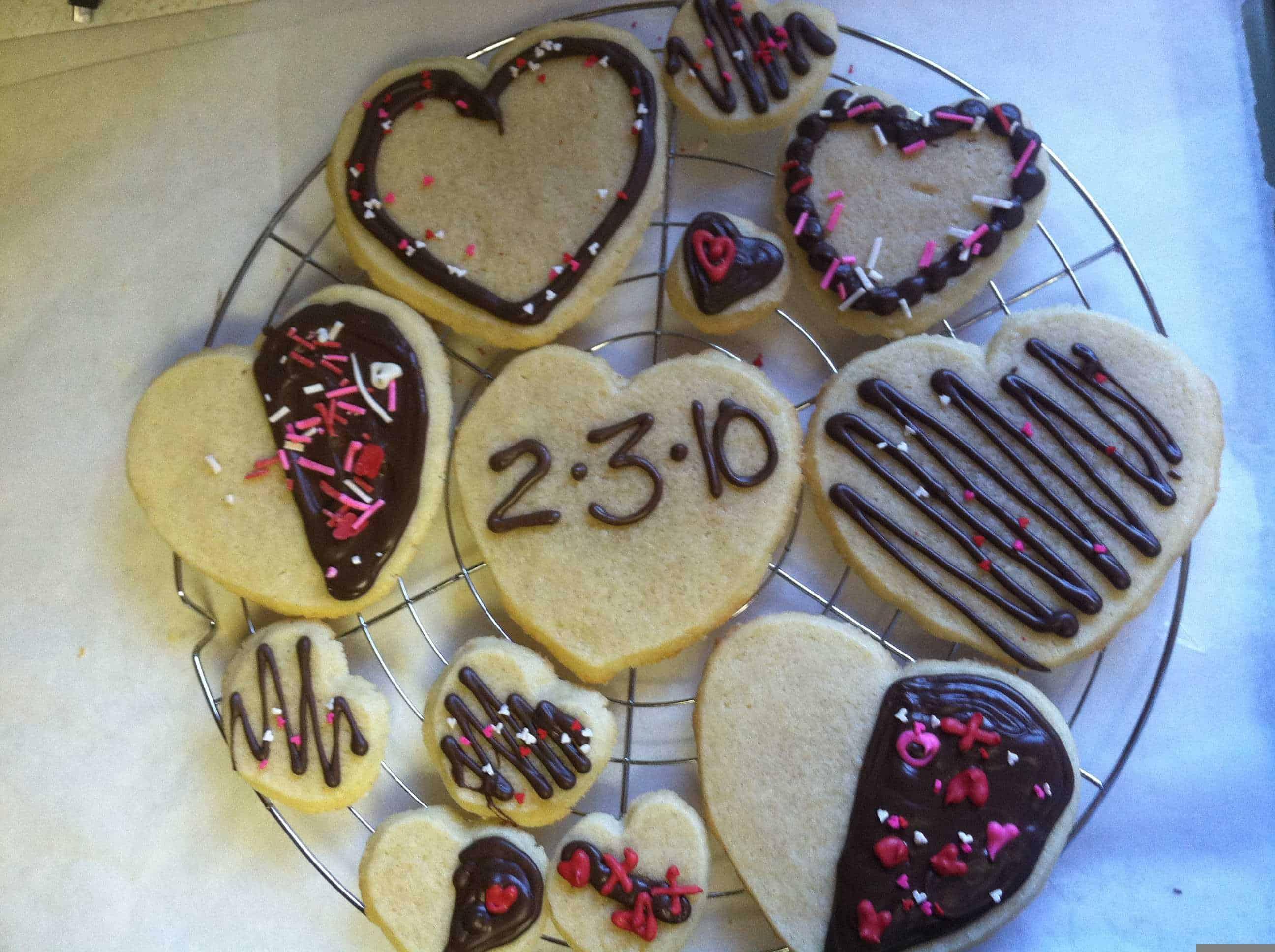 Sugar cookies, heart shaped!