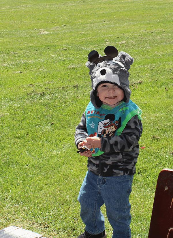 Birthday Boy wearing a swiss meringue buttercream frosting smile