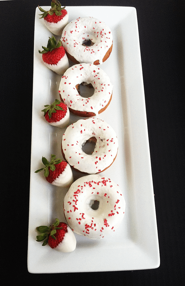 Baked Strawberry Donuts with White Chocolate Ganache