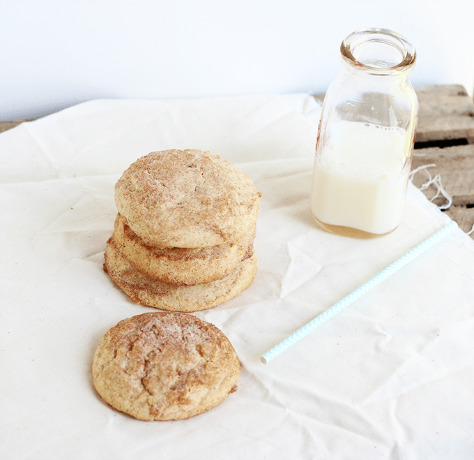 Chewy Snickerdoodles and a glass of milk