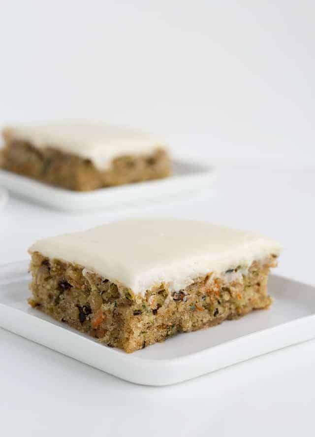 zucchini bars topped with cream cheese frosting