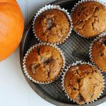 Streusel Stuffed Pumpkin Toffee Muffins