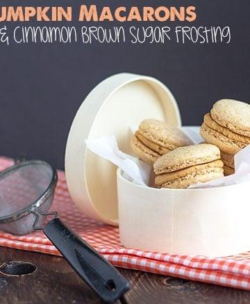 Pumpkin Macarons with Cinnamon Brown Sugar Frosting