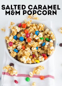 Salted Caramel M&M Popcorn - The perfect sweet and salty treat!