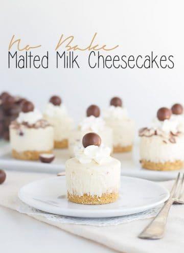 No Bake Malted Milk Cheesecakes