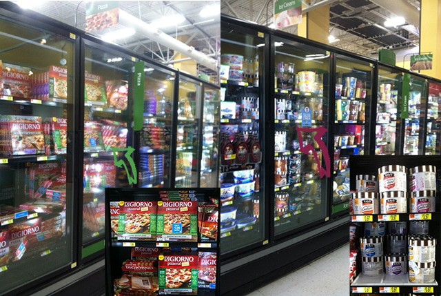 in-store photo of the frozen food aisle of Walmart
