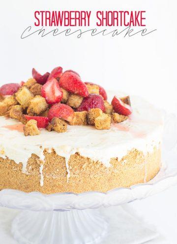 Strawberry Shortcake Cheesecake on a cake stand