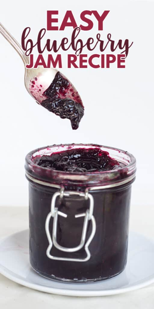close up of a spoon full of jam with the title in text at the top for pinterest