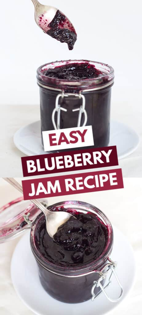 collage of blueberry jam photos with the title in blocks of text in the center for pinterest