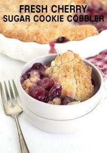 titled image - Fresh Cherry Sugar Cookie Cobbler - Fresh cherry cobbler topped with a sugar cookie topping