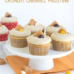 Spiced Candy Apple Cupcakes with Crunchy Caramel Frosting