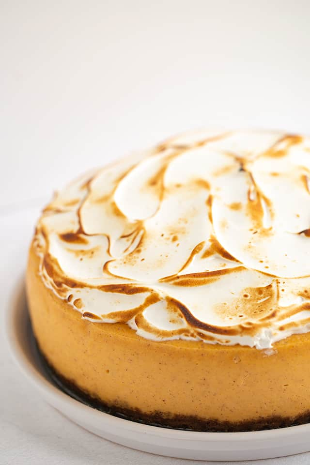 Showing marshmallow topping of sweet potato cheesecake