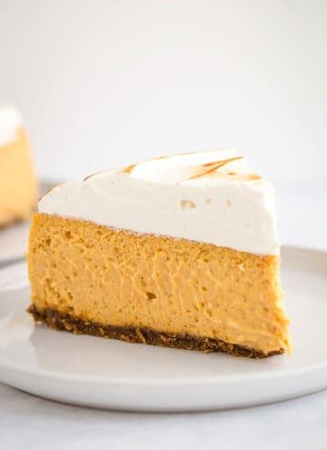 slice of sweet potato cheesecake on white plate