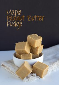 Quick 4 Ingredient Maple Peanut Butter Fudge! This fudge is incredibly creamy and smooth with maple flavor.