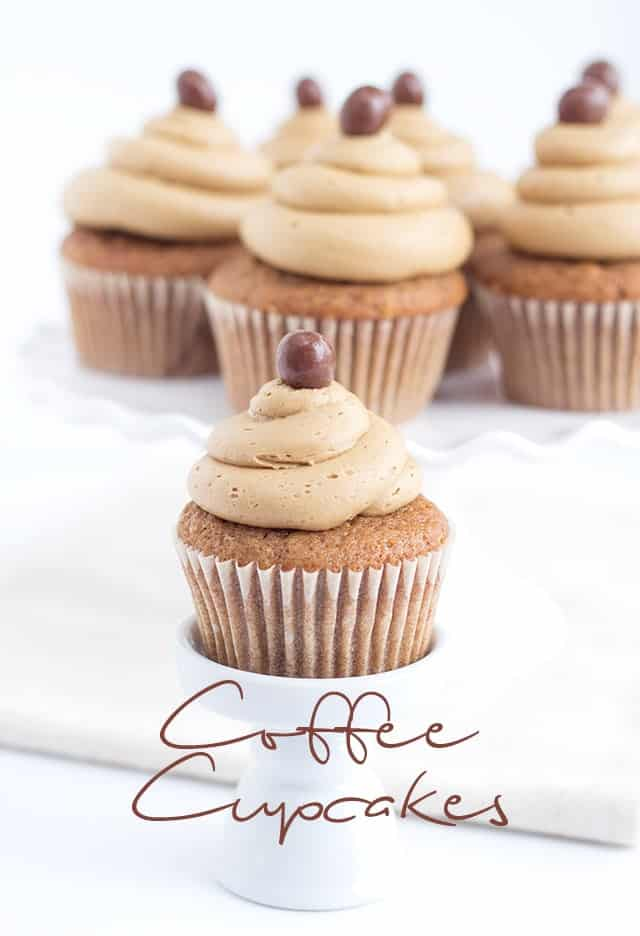 A shot from the front of the coffee cupcakes
