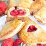 stacked strawberry hand pies showing the inside