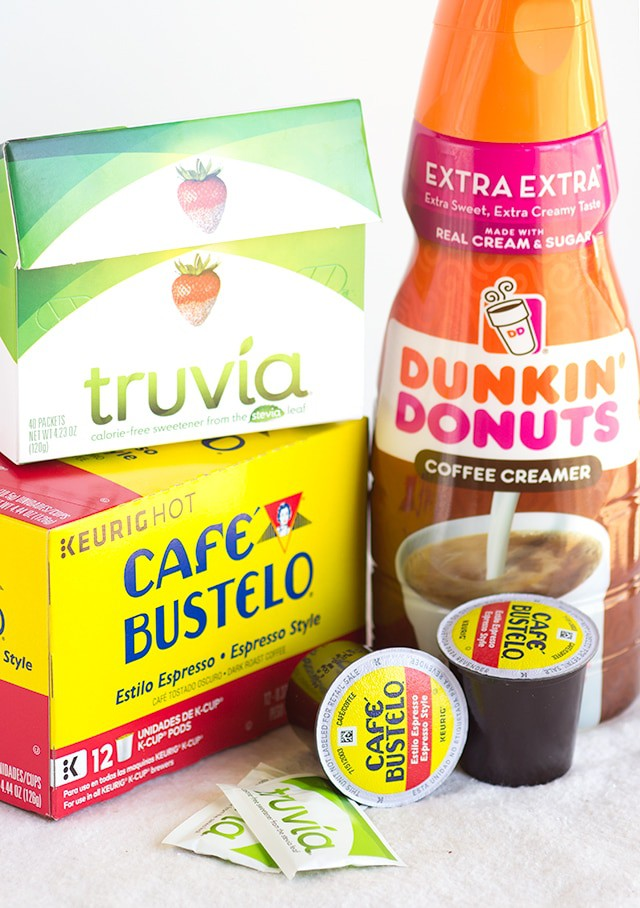 Truvia Natural Sweetener, Café Bustelo K-cups, and Dunkin' Donuts creamer
