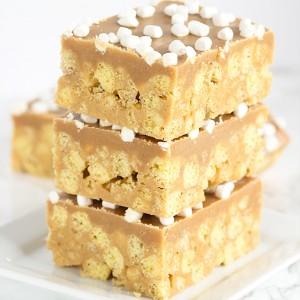 No Bake Peanut Butter Cereal Bars
