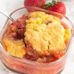 Warm Strawberry Rhubarb Shortcake - warm and simple strawberry rhubarb shortcake that would go perfectly with a scoop of ice cream.