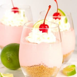 No Bake Cherry Limeade Cheesecakes