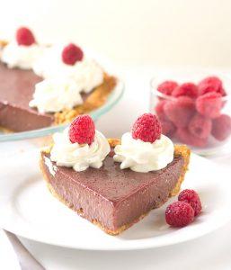 Chocolate Raspberry Pie - This is key lime pies friend, chocolate raspberry pie. The pie is loaded with fresh raspberry puree and chocolate flavored sweetened condensed milk.