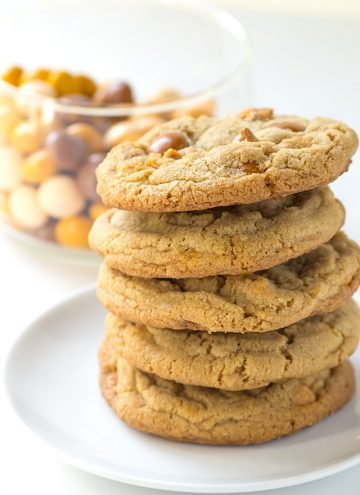 stack of chewy butterscotch cookies on a white plate