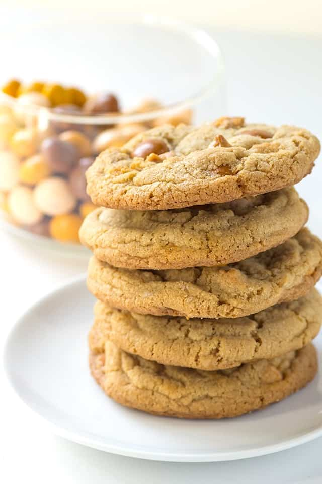 stack of chewy butterscotch cookies on a white platee