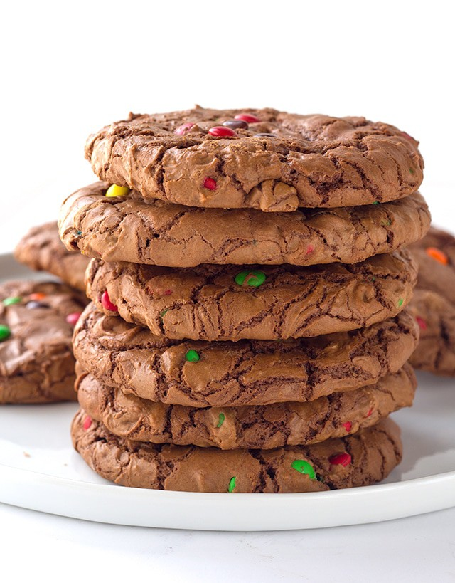 stack of 6 Brownie Cookies - rich chocolate cookies loaded with semi-sweet chocolate chips with a shiny crinkled brownie top