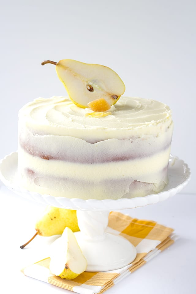 Ginger Pear Cake - dense cake filled with chunks of pear, topped with ginger simple syrup and slathered with ginger frosting.