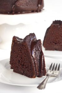 Chocolate Whiskey Cake - Whiskey infused chocolate bundt cake topped with a boozy chocolate ganache!