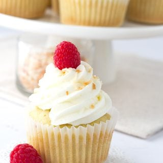 Coconut Cupcakes with Raspberry Filling