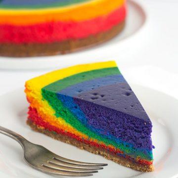 slice of rainbow cheesecake