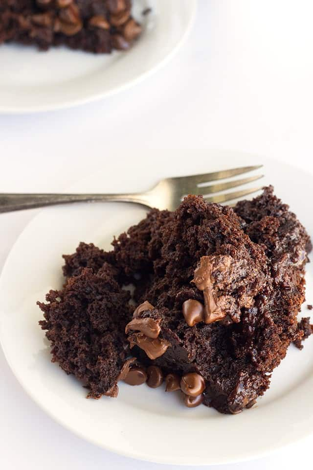 plate of chocolate lava cake, made in a crockpot