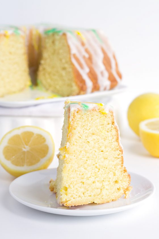 Tangy Lemon Lime Cake with Lemon Lime Glaze - It's a dense made from scratch pound cake with a box of lemon pudding and lime juice added in. The vibrant green and yellow stripes pop every bit as much as the flavor!