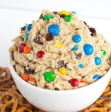 monster cookie dough dip in a white bolw