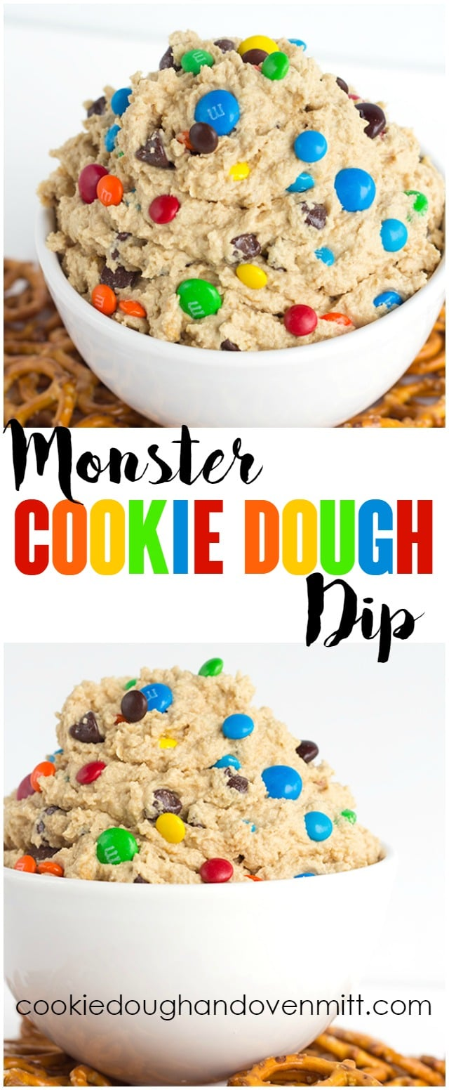 Monster Cookie Dough Dip - Cookie Dough and Oven Mitt