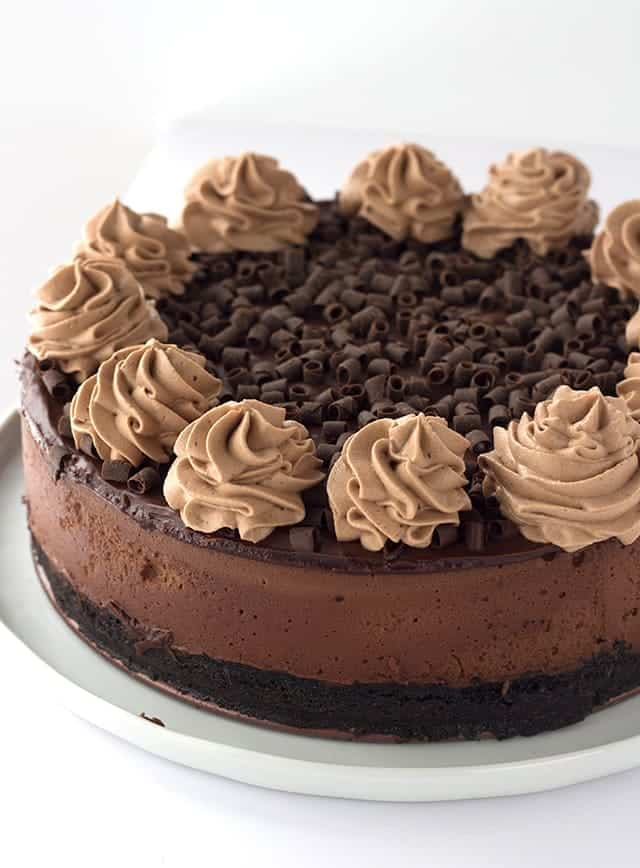 Triple Chocolate Cheesecake - Cookie Dough and Oven Mitt
