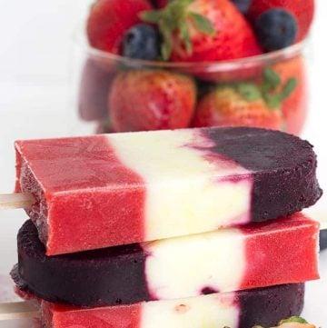 Red White and Blue Berry Yogurt Pops - Yogurt Pops for the 4th of July. They're full of fresh berries and lemon yogurt!
