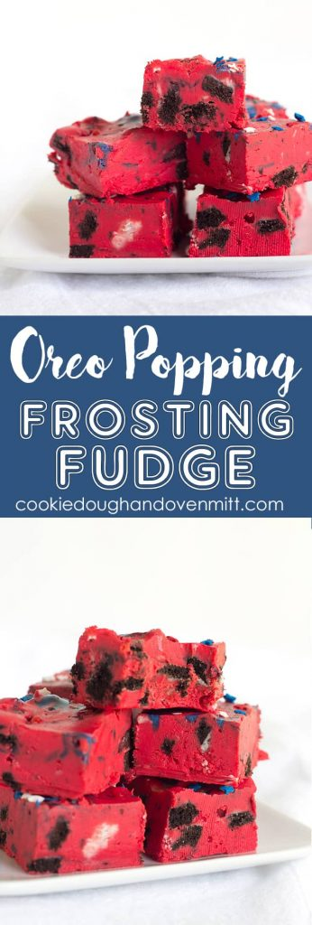 Oreo Frosting Fudge - easy fudge made with white chocolate chips, red store-bought frosting, and stuffed with popping oreos and star sprinkles.