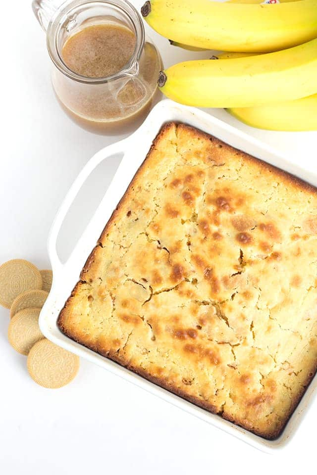 Pan of bananas foster pancake casserole with buttered rum sauce and bananas