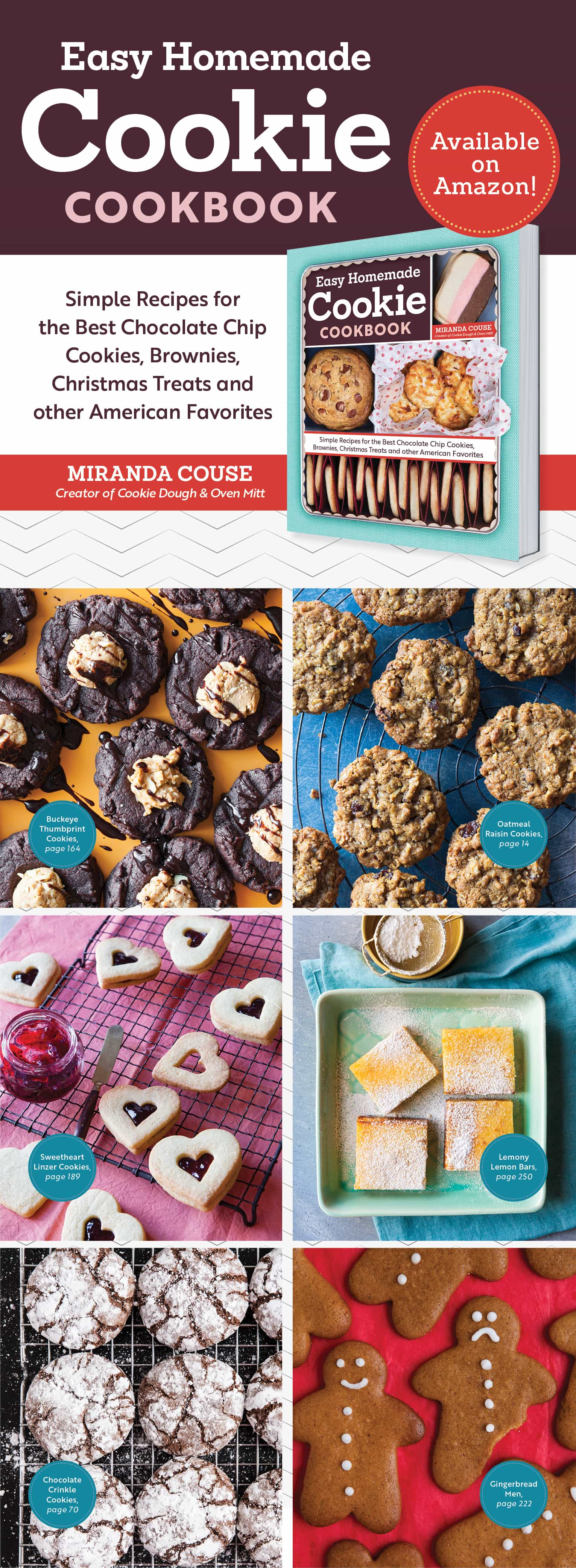 Miranda from Cookie Dough & Oven Mitt has a cookbook out! The Easy Homemade Cookie Cookbook can be ordered now! There are 160 recipes, techniques on decorating cookies, tips and tricks for each recipe, and they're all simple to make!