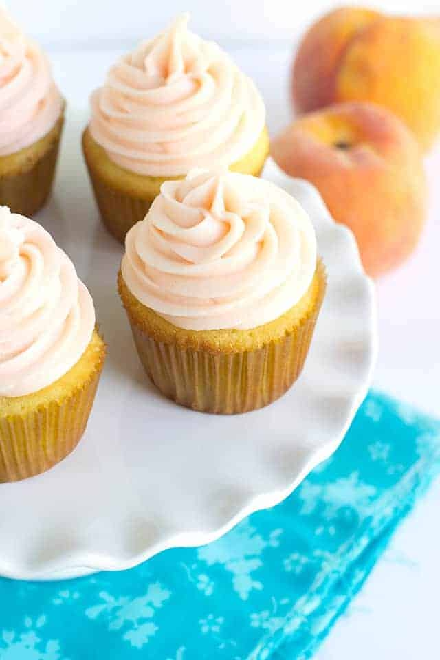 Yellow Cupcakes with Peach Cream Cheese Frosting