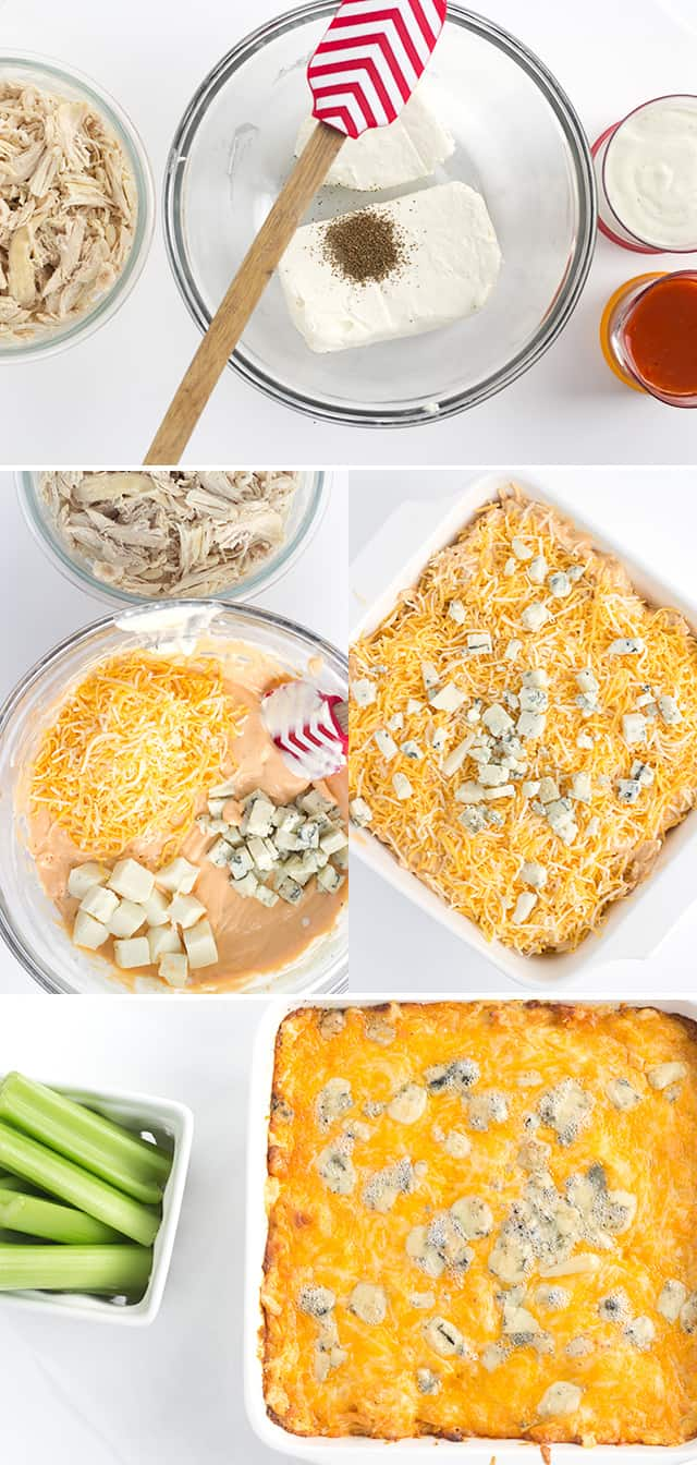 Buffalo Wing Dip - the perfect dip to pair with your next pizza! It's spicy, cheesy, and full of shredded chicken!