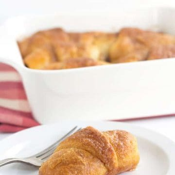 Crescent Roll Apple Nutmeg Dumplings - slices of apples rolled up in crescent rolls with cinnamon and sugar. Once everything is in the pan, it's coated with a layer of a buttery nutmeg/cinnamon brown sugar mixture and baked.