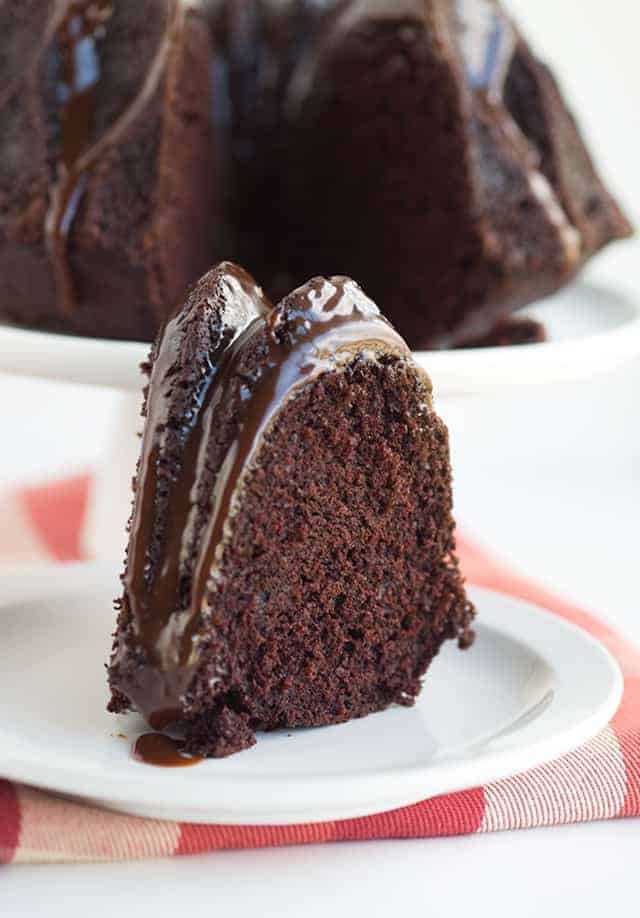Chocolate Mayonnaise Bundt Cake - chocolate cake made with mayonnaise instead of butter and eggs! Pour it into a beautiful bundt pan. Top with a chocolate glaze for a pretty and tasty finish.