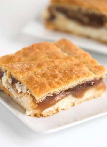 one slice of pecan pie cheesecake bars