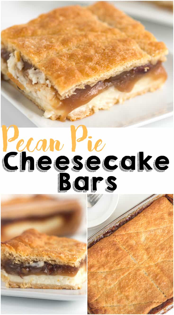 Pecan Pie Cheesecake Bars - pecan pie filling and an easy cheesecake filling sandwiched between crescent rolls and baked until golden brown! It slices perfectly and tastes incredible! Just watch out, it's HIGHLY addicting!