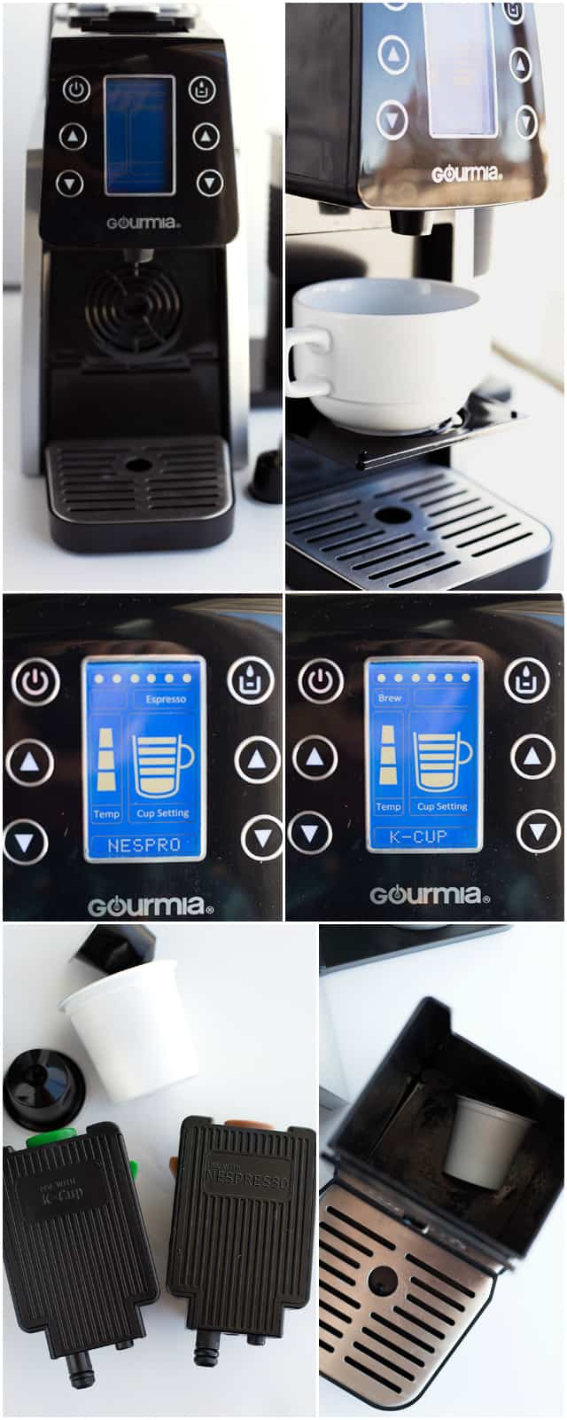 Different pictures of the Gourmia Multi Capsule Coffee Machine