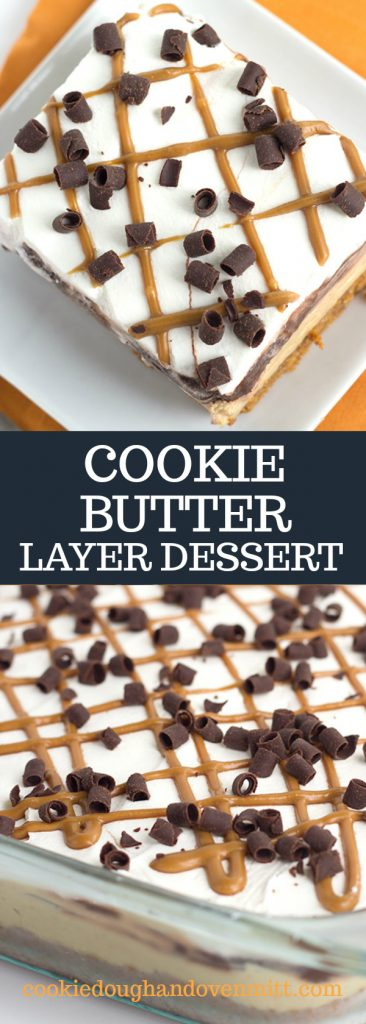 Long pin collage for pinterest of cookie butter layer dessert