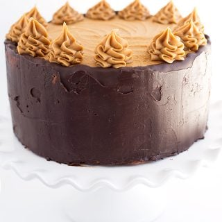 A shot at eye level of mocha layer cake